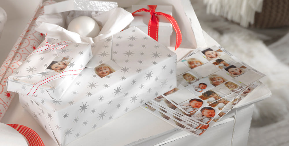 Photo stickers as gift labels