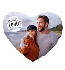 Heart-Shaped Photo Cushion with Design