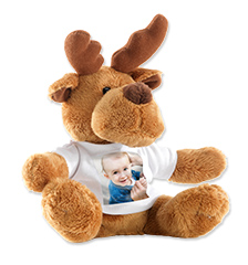 Cuddly toy with photo t-shirt (reindeer)