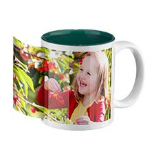 Photo mug green inside (panoramic)