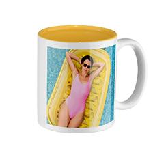 Mug photo intérieur jaune (classique)
